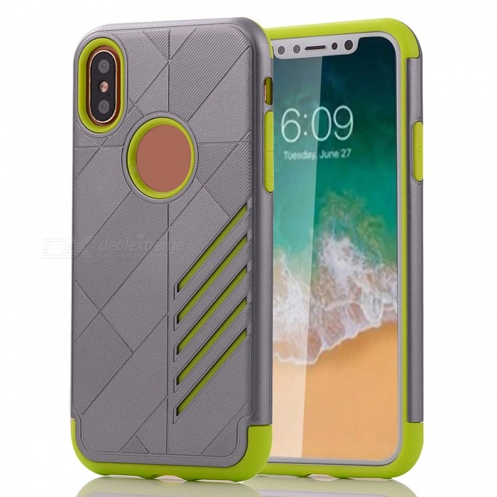Mini Smile Shock-proof Scratch-resistant Protective Combined Case Dual Layer PC + TPU Cover for IPHONE X - Green + GreyPlastic Cases<br>Form  ColorGrey + GreenModelIX-JJQuantity1 DX.PCM.Model.AttributeModel.UnitMaterialPC + TPUCompatible ModelsiPhone XDesignSolid ColorStyleBack CasesPacking List1 x Case<br>