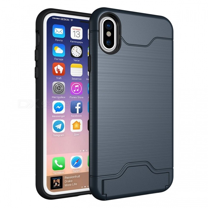 Mini Smile Shock-proof Protective PC + TPU Back Case with Card Slot, Stand for IPHONE X - NavyPlastic Cases<br>Form  ColorNavyModelIX-LSQuantity1 DX.PCM.Model.AttributeModel.UnitMaterialPC + TPUCompatible ModelsiPhone XDesignSolid Color,With Stand,Card SlotStyleBack CasesPacking List1 x Case<br>