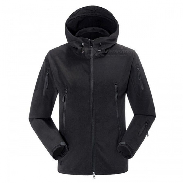 Outdoor Waterproof Breathable Fleece Sports Climbing Clothes Jacket for Men - Black (L)