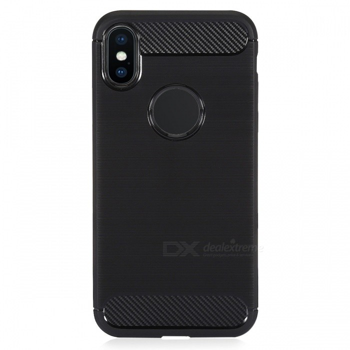 Brushed Finish TPU Soft Back Cover Case for IPHONE X - Black