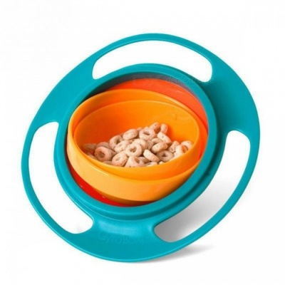 360 Degree Rotating Spill Proof Baby Kid Feeding Bowl - Green