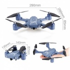 HC629 Fixed Height Folding 2.4G Four-Axis Wi-Fi RC Quadcopter with 0.3MP Camera, Lamp - Blue