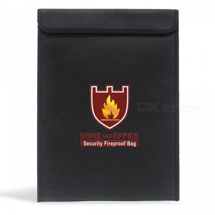 "ENGPOW Home Office Fireproof Waterproof Envelope Bag for Money, Passport, Legal Documents, Valuables - Black (15"" x 11"")"