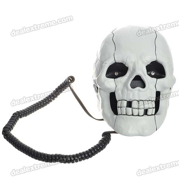 Unique Skull Skeleton Shaped Land Line Telephone - White