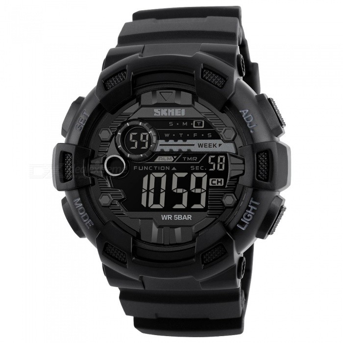 SKMEI 1243 50M Waterproof Mens Digital Outdoor Sports Watch with Chronograph / LED Display / Alarm Clock - BlackSport Watches<br>Form  ColorBlackModel1243Quantity1 pieceShade Of ColorBlackCasing MaterialPCWristband MaterialPUSuitable forAdultsGenderMenStyleWrist WatchTypeSports watchesDisplayDigitalBacklightEL LightMovementDigitalDisplay Format12/24 hour time formatWater ResistantWater Resistant 5 ATM or 50 m. Suitable for swimming, white water rafting, non-snorkeling water related work, and fishing.Dial Diameter5 cmDial Thickness1.7 cmWristband Length25 cmBand Width2..2 cmBattery1 x CR2032Packing List1 x Sport watch<br>