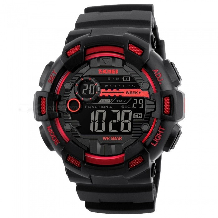 SKMEI 1243 50M Waterproof Mens Digital Outdoor Sports Watch with Chronograph / LED Display / Alarm Clock - RedSport Watches<br>Form  ColorRedModel1243Quantity1 DX.PCM.Model.AttributeModel.UnitShade Of ColorRedCasing MaterialPCWristband MaterialPUSuitable forAdultsGenderMenStyleWrist WatchTypeSports watchesDisplayDigitalBacklightEL LightMovementDigitalDisplay Format12/24 hour time formatWater ResistantWater Resistant 5 ATM or 50 m. Suitable for swimming, white water rafting, non-snorkeling water related work, and fishing.Dial Diameter5 DX.PCM.Model.AttributeModel.UnitDial Thickness1.7 DX.PCM.Model.AttributeModel.UnitWristband Length25 DX.PCM.Model.AttributeModel.UnitBand Width2..2 DX.PCM.Model.AttributeModel.UnitBattery1 x CR2032Packing List1 x Sport watch<br>