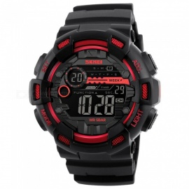 SKMEI 1243 50M Waterproof Men's Digital Outdoor Sports Watch with Chronograph / LED Display / Alarm Clock - Black
