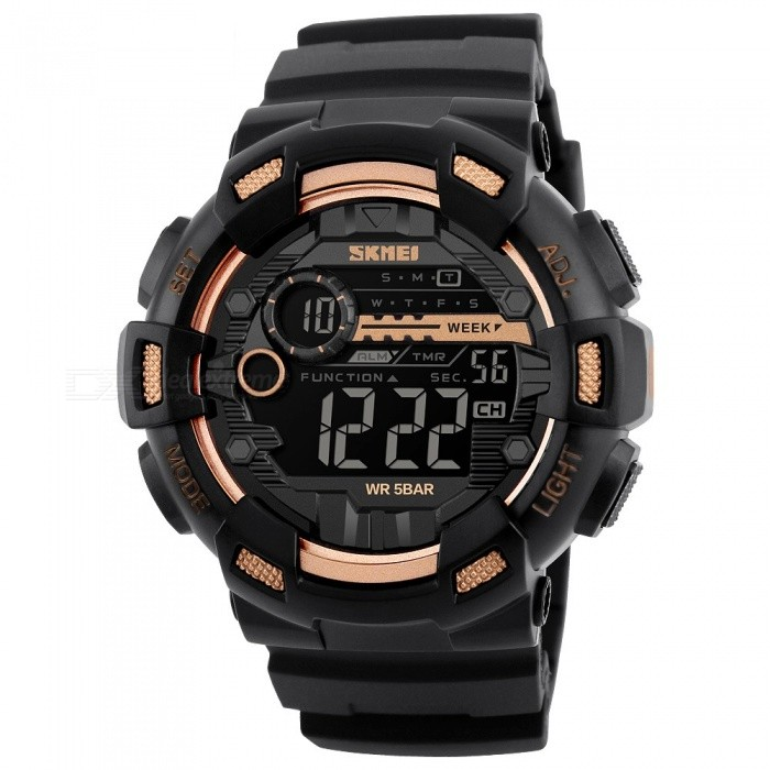 SKMEI 1243 50M Waterproof Mens Digital Outdoor Sports Watch with Chronograph / LED Display / Alarm Clock - GoldenSport Watches<br>Form  ColorGoldenModel1243Quantity1 pieceShade Of ColorGoldCasing MaterialPCWristband MaterialPUSuitable forAdultsGenderMenStyleWrist WatchTypeSports watchesDisplayDigitalBacklightEL LightMovementDigitalDisplay Format12/24 hour time formatWater ResistantWater Resistant 5 ATM or 50 m. Suitable for swimming, white water rafting, non-snorkeling water related work, and fishing.Dial Diameter5 cmDial Thickness1.7 cmWristband Length25 cmBand Width2..2 cmBattery1 x CR2032Packing List1 x Sport watch<br>