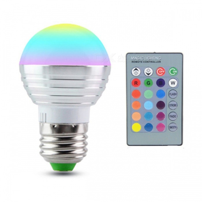 E27 3W 16-Color Changing RGB Magic Light Bulb Lamp with IR Remote ControlColor BINRGBForm  ColorSilverPower3WPower Supply85-265VMaterialPlasticQuantity1 DX.PCM.Model.AttributeModel.UnitRated VoltageAC 85-265 DX.PCM.Model.AttributeModel.UnitConnector TypeE27Emitter TypeLEDTotal Emitters1Actual Lumens/ DX.PCM.Model.AttributeModel.UnitColor Temperature12000K,Others,-DimmableYesBeam Angle360 DX.PCM.Model.AttributeModel.UnitPacking List1 x E27 RGB LED Light1 x IR Remote Controller(battery NOT included)<br>