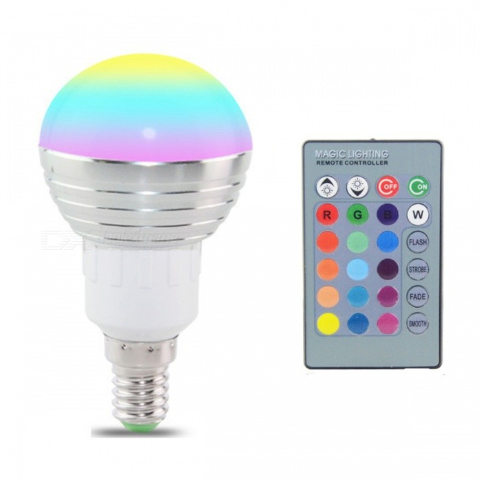 E14 5W 16-Color Changing RGB Magic Light Bulb Lamp with IR Remote ControlColor BINRGBMaterialPlasticForm  ColorSilverQuantity1 DX.PCM.Model.AttributeModel.UnitPower5WRated VoltageAC 85-265 DX.PCM.Model.AttributeModel.UnitConnector TypeE14Emitter TypeLEDTotal Emitters1Actual Lumens/ DX.PCM.Model.AttributeModel.UnitColor Temperature12000K,Others,/DimmableYesBeam Angle360 DX.PCM.Model.AttributeModel.UnitPacking List1 x E14 RGB LED Light1 x IR Remote Controller (battery NOT included)<br>