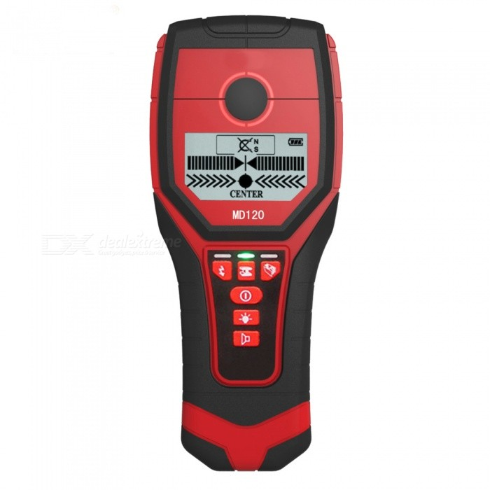 BLCR MD120 Professional Multifunctional Handheld Accurate Diagnostic-Tool Wall Detector, Metal Wood AC Cable Finder ScannerTesters &amp; Detectors<br>Form  ColorRed + BlackModelMD120Quantity1 DX.PCM.Model.AttributeModel.UnitMaterialABSBattery Number1Battery included or notNoPacking List1 x Wall Detector<br>