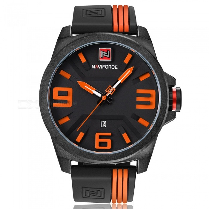 NAVIFORCE 9088 Men's Sports Army Military Quartz Wrist Watch - Black + Orange (With Gift Box)