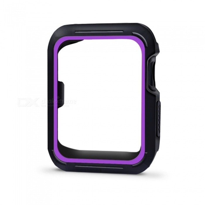 Protective Bumper Case Shock-proof Shatter-resistant Cover for 42mm Apple Watch Series 3/2/1, Nike+ Sport Edition - PurpleWearable Device Accessories<br>Form  ColorBlack + PurpleModel42mm Apple Watch CaseQuantity1 DX.PCM.Model.AttributeModel.UnitMaterialSiliconPacking List1 x Protective Watch Case for Apple Watch Series 1 Series 2 Series 3 (42mm)<br>