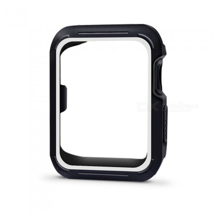 Protective Bumper Case Shock-proof Shatter-resistant Cover for 42mm Apple Watch Series 3/2/1, Nike+ Sport Edition - WhiteWearable Device Accessories<br>Form  ColorBlack + WhiteModel42mm Apple Watch CaseQuantity1 DX.PCM.Model.AttributeModel.UnitMaterialSiliconPacking List1 x Protective Watch Case for Apple Watch Series 1 Series 2 Series 3 (42mm)<br>