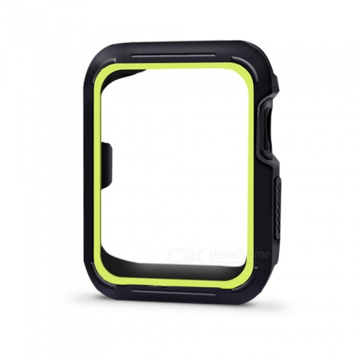 Protective Bumper Case Shock-proof Shatter-resistant Cover for 42mm Apple Watch Series 3/2/1, Nike+ Sport Edition - Yellow GreenWearable Device Accessories<br>Form  ColorBlack + Yellowish BlackModel42mm Apple Watch CaseQuantity1 DX.PCM.Model.AttributeModel.UnitMaterialSiliconPacking List1 x Protective Watch Case for Apple Watch Series 1 Series 2 Series 3 (42mm)<br>