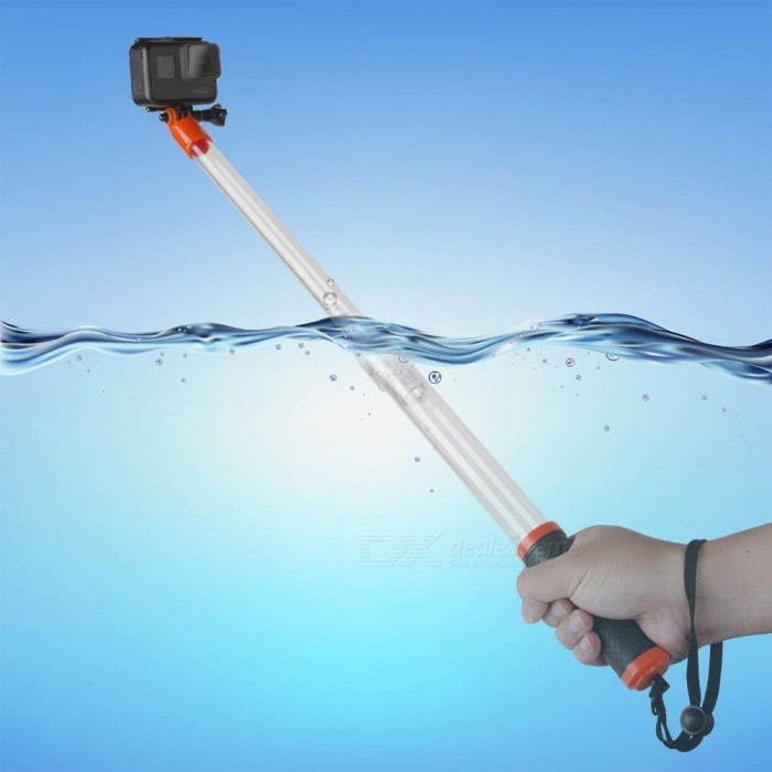 TELESIN Transparent Handheld Waterproof  Divng Pole for GoPro Hero 6 5Other GoPro Accessories<br>Form  ColorWhite + RedModelGP-MNP-T01Quantity1 DX.PCM.Model.AttributeModel.UnitMaterialPlasticShade Of ColorWhitePacking List1 x Waterproof Floating Extension Pole1 x Thumbscrew1 x Wrist Strap1 x Removable Wi-Fi Remote Holder<br>