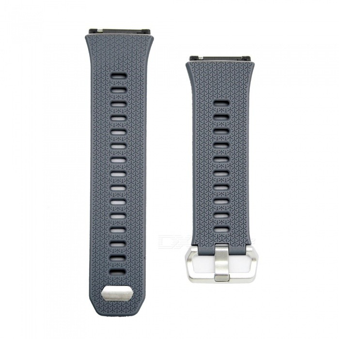 Stylish Buckle Type Silicone Smart Watch Band Strap for Fitbit Ionic - GrayWearable Device Accessories<br>Form  ColorGreyModelN/AQuantity1 DX.PCM.Model.AttributeModel.UnitMaterialSiliconePacking List1 x Watch Strap (12.4cm)1 x Watch Strap (9.6cm)<br>