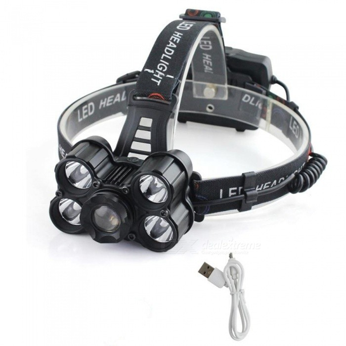 SPO V28-3 Outdoor Ultrabright Five T6 LED Headlight Telescopic Zoom Headlamp for Fishing / Camping