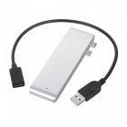 Cwxuan USB 3.1 Type-C to Type-C, USB 3.0 HUB, TF SD Card Reader with Charging Port for Macbook Pro - Silver