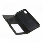 Protective Flip-Open Full Body Leather Case Cover w/ Card Slots for IPHONE X - Black