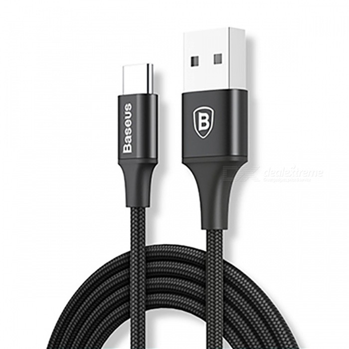 Baseus Rapid Series Quick Charge Type-C Charging Data Cable with Indicator Light - Black (2m)Cables<br>Form  Color200cmModelCATSU-C01MaterialAluminum alloy + NylonQuantity1 pieceCompatible Modelsfor type c devicesCable Length200 cmConnectorUSB &amp; Type CSplit adapter number1Packing List1 x Type C Cable<br>