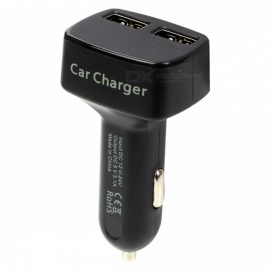 4-in-1 DC5V 3.1A Dual USB Car Charger with Voltage / Temperature / Tester Current Meter Display - White