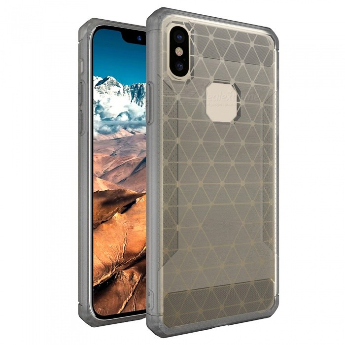 Mini Smile Protective Wire Drawing Carbon Fiber + TPU Back Case Anti-Slip Cover for IPHONE X - Transparent GreyTPU Cases<br>Form  ColorTranslucent GreyModelIX-HCQuantity1 pieceMaterialOthers,Carbon Fiber + TPUCompatible ModelsiPhone XDesignSolid Color,MatteStyleBack CasesPacking List1 x Case<br>