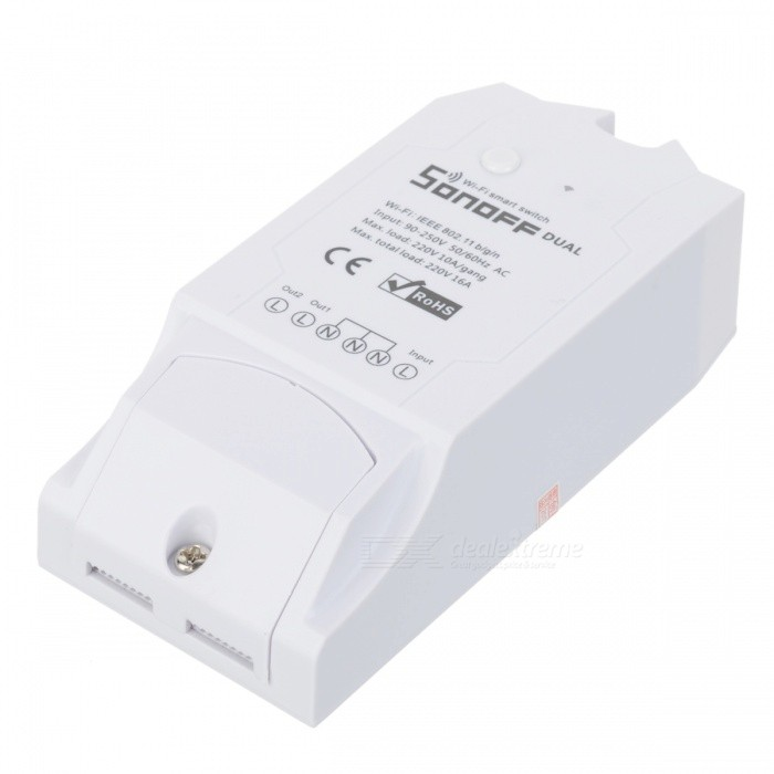 Sonoff Dual 2CH Wi-Fi Smart Home Remote Control Wireless Switch - WhiteHome Smart Devices<br>Form  ColorWhiteModelSonoff DualQuantity1 pieceMaterialPlasticPower3500 WRate Voltage90-250V ACPacking List1 x Smart Switch<br>