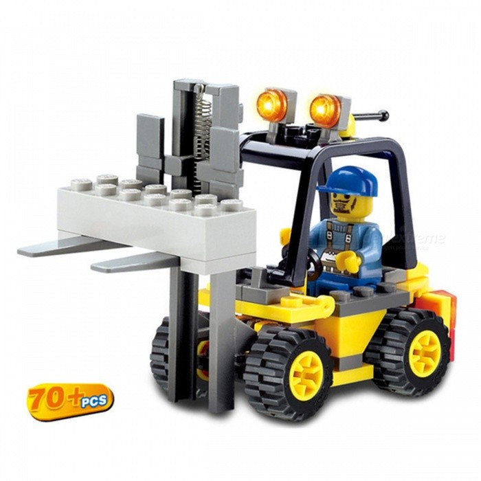 70Pcs ABS Engineer Forklift Building Blocks Educational Toy for KidsBlocks &amp; Jigsaw Toys<br>Form  ColorYellow + Black + WhiteModelN/AMaterialPlasticQuantity1 DX.PCM.Model.AttributeModel.UnitNumber70PcsSuitable Age 3-4 years,5-7 yearsPacking List70 x Building Blocks 1 x Building Instruction Book<br>