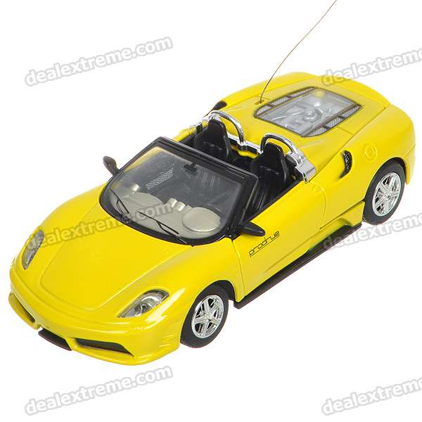 Mini Rechargeable R/C Model 1:43 Scale Alloy Racing Car - Yellow (40MHz)