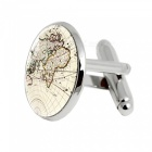 005 Alloy World Map Pattern Men's Cufflinks - Silver + Apricot (1 Pair)