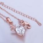 Crystal Rose Gold Color Deer Head Charms Pendant Chain Necklace, Fashion Jewelry Birthday Gift