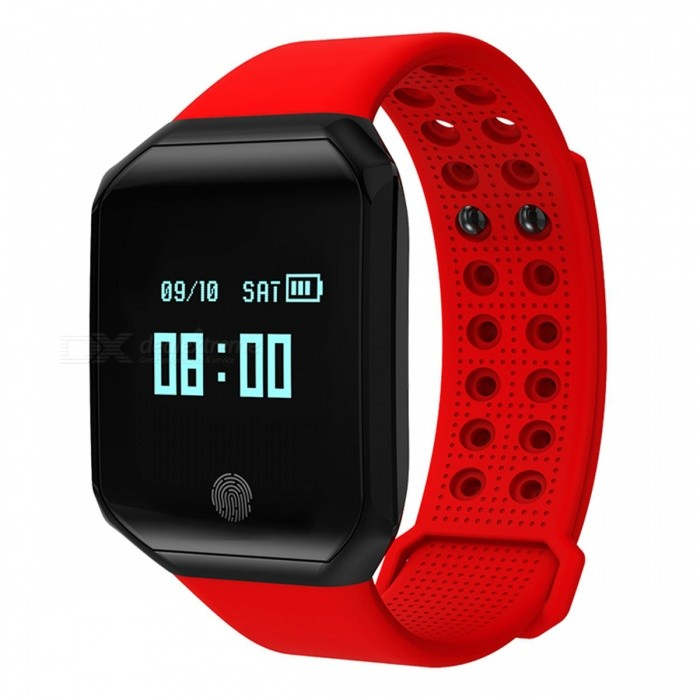 Z66 0.95 OLED Sports Bluetooth Intelligence Smart Bracelet Waterproof Wrist Band - Red + BlackSmart Bracelets<br>Form  ColorRed + BlackModelZ66Quantity1 setMaterialAluminum alloy + silica gelShade Of ColorRedWater-proofIP67Bluetooth VersionOthers,Bluetooth V4.2Touch Screen TypeYesOperating SystemNoCompatible OSAndroid 4.4 or above, IOS 7.0 or above, Bluetooth 4.0 supportBattery Capacity100 mAhBattery TypeLi-polymer batteryStandby Time15 daysOther FeaturesDisplay by 0.95 OLED, 96*64 pixels, IP67 WaterproofPacking List1 x Bracelet1 x Charging Cable<br>