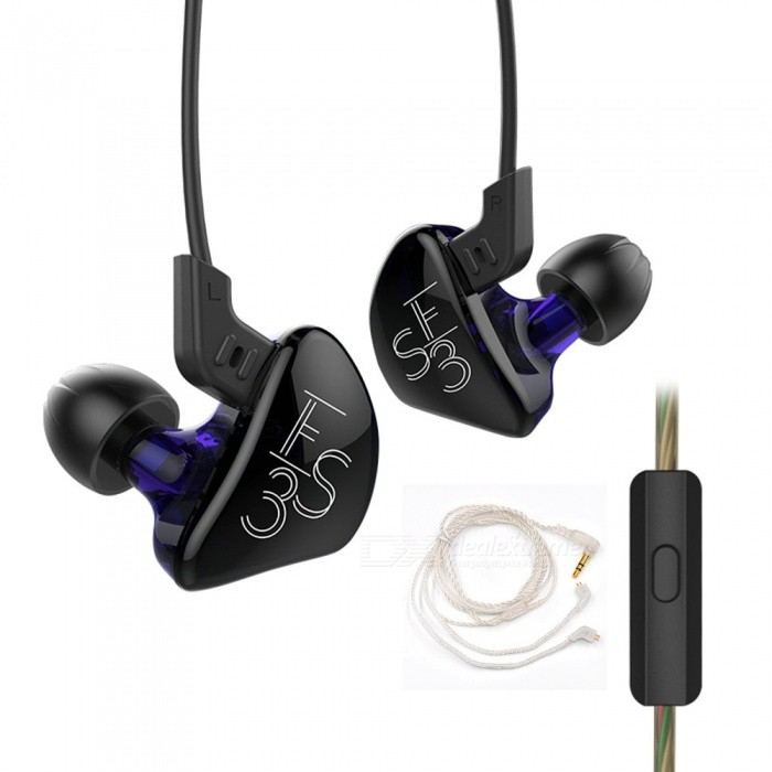 New KZ ES3 1DD+1BA Hybrid Double Unit Driver In-Ear Detachable HiFi Earphone, DJ Monito Running Sport Headset + Silver CableHeadphones<br>Form  ColorPurple + Black (With Mic) + Silver CableBrandOthers,KZModelES3MaterialABS + TPEQuantity1 pieceConnection3.5mm WiredBluetooth VersionNoConnects Two Phones SimultaneouslyNoCable Length130 cmLeft &amp; Right Cables TypeEqual LengthHeadphone StyleBilateral,Earbud,In-EarWaterproof LevelIPX2Applicable ProductsUniversal,IPHONE 7,IPHONE 7 PLUSHeadphone FeaturesHiFi,Noise-Canceling,For Sports &amp; ExerciseRadio TunerNoSupport Memory CardNoSupport Apt-XNoChannels2.0SNR106dB/mWSensitivity98dB±2dBFrequency Response20-45000HzImpedance18 ohmDriver Unit10 mmBattery TypeOthers,NOPower AdapterOthers,NOPacking List1 x KZ ES3 In-Ear Headphone3 Sets x Ear cap (1 set on the earphone )1 x Silver upgrade line1 x Manual<br>