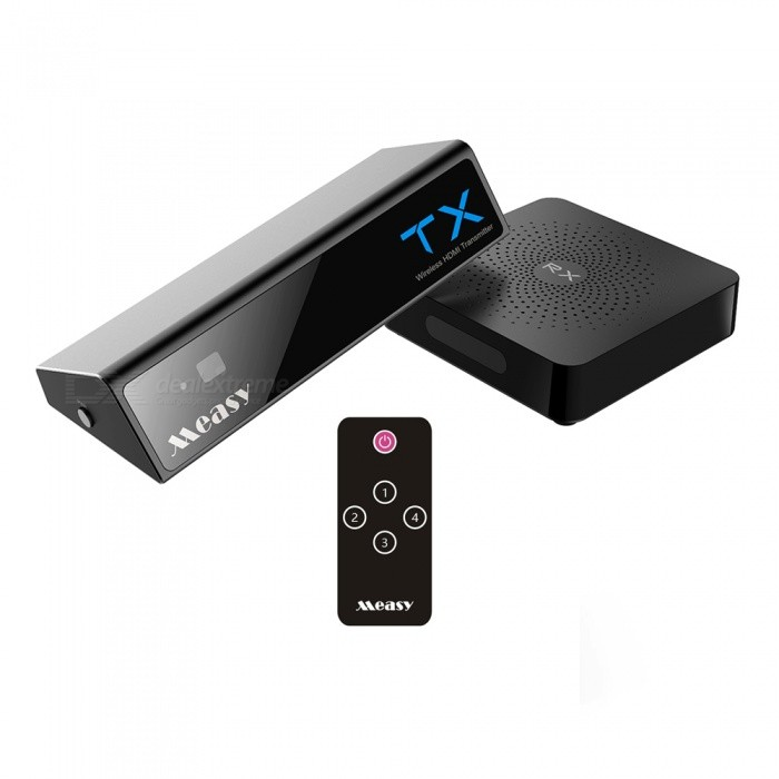 Measy W2H MAX 1080P HD Wireless HDMI Transmitter and Receiver - Black (EU Plug)Audio/Video Transmitters<br>Form  ColorBlackPower AdapterEU PlugModelW2H MAXShade Of ColorBlackMaterialABSQuantity1 setTransmition Distance30mInterfaceOthers,HDMI 1.4,Micro USBPacking List1 x HDMI Transmitter1 x HDMI Receiver2 x Power adapters2 x USB Cable1 x User manual<br>