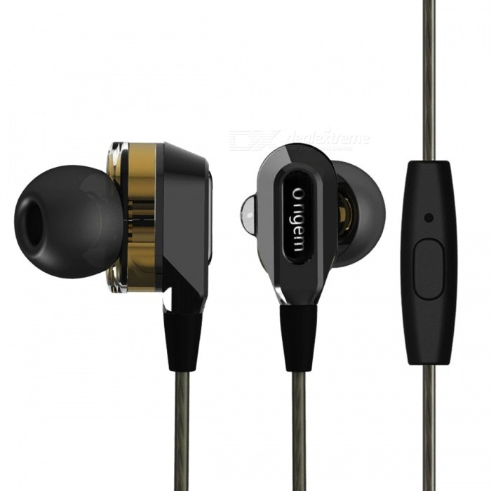 In Ear Heavy Bass Headphone, Wired Dual Driver High Resolution Earphone Noise-Isolating Earbuds with MicrophoneHeadphones<br>Form  ColorBlackBrandOthers,OrigemMaterialABSQuantity1 setConnectionOthers,WiredBluetooth VersionNoHeadphone StyleIn-EarWaterproof LevelIPX4Applicable ProductsUniversalHeadphone FeaturesNoise-Canceling,Volume Control,For Sports &amp; ExerciseSupport Memory CardNoSupport Apt-XYesPacking List1 x Earphone1 x Pouch bag1 x Package case<br>