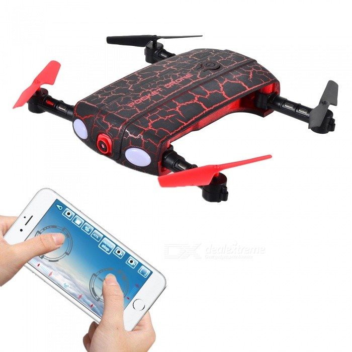 HelicMAX 1705W 2.4GHz 4CH 6 Axis Wi-Fi FPV Foldable Optical Flow Positioning Mini Drone RC Quadcopter with Camera - Red