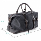 Oversized Foldable Canvas Leather Luggage Handbag Tote Bag for Travel Outdoor - Black (L)
