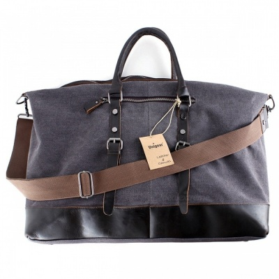 Oversized Foldable Canvas Leather Luggage Handbag Tote Bag for Travel Outdoor - Grey (L)