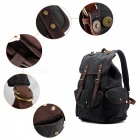 Canvas Leather Backpack, Vintage Laptop College School Shoulder Bag with Buckle Design for Travel Hiking & Camping - Black