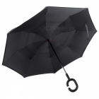 C-Handle Double Layer Windproof Inverted Reverse Travel Umbrella for Car and Outdoor Use - Black