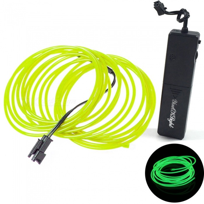 YouOKLight 1.75m 3-Mode Sound Control Flash Luminous EL LED Wire Cable - Green LightLED String<br>Form  ColorGreen + BlackColor BINGreenModelYK0440-GreenMaterialPVCQuantity1 piecePowerOthers,1WRated VoltageOthers,DC 3 VEmitter TypeLEDTotal Emitters1Wavelength560-490nm (Green)Actual LumensN/A lumensPower AdapterBatteryPacking List1 x LED Wire (Green)1 x Battery Controller<br>