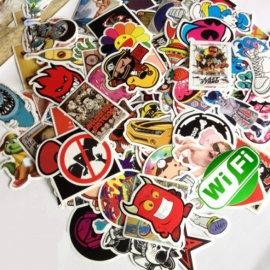 100Pcs Unique Vintage Sticker for Laptop Luggage Car Skateboard Decoration - Multicolor (Random Style)