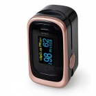 Dual Color OLED Display Finger Pulse Oximeter with 4 Parameter 8 Hours Date Record, Data Analysis, Sleep Monitoring - Black Gold