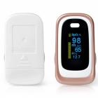Dual Color OLED Display Finger Pulse Oximeter with 4 Parameter 8 Hours Date Record, Data Analysis, Sleep Monitoring - White Gold