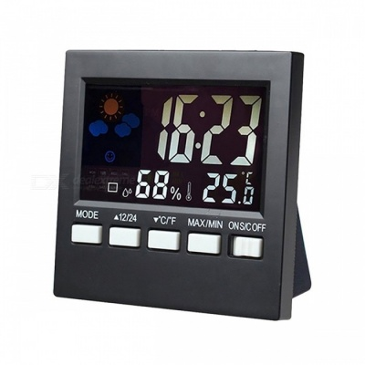 Digital LCD Weather Alarm Clock with Temperature Humidity Backlight Monitor, Snooze Function