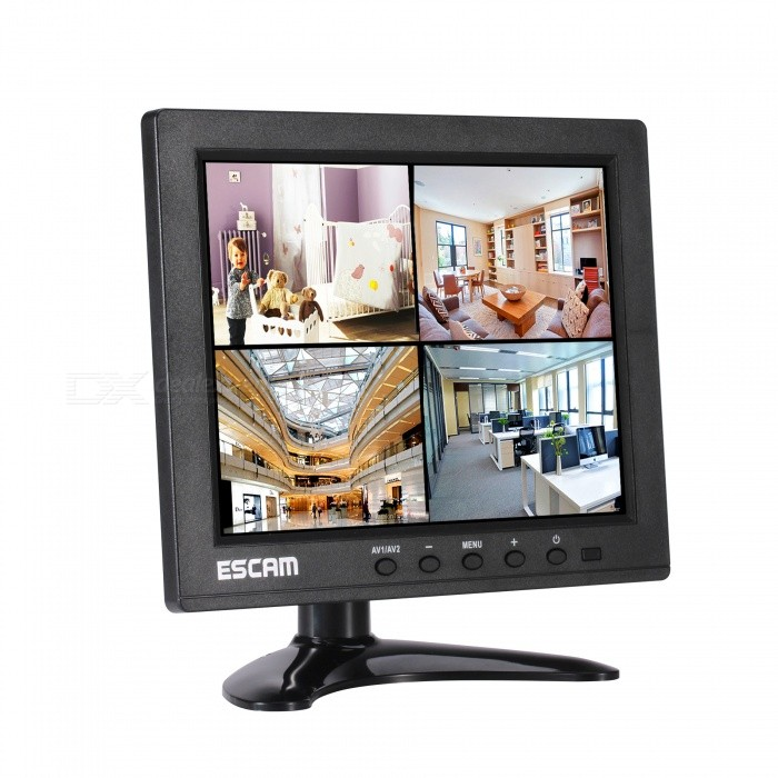 ESCAM T08 8 Inch TFT LCD Color Video 1024x768 Monitor Screen (EU Plug)DVR Cards &amp; Systems<br>Form  ColorBlackPower AdapterEU PlugModelT08MaterialHigh quality metal shellQuantity1 DX.PCM.Model.AttributeModel.UnitSupported LanguagesEnglish,Simplified ChinesePicture Resolution1024*768USB Port Qty1 DX.PCM.Model.AttributeModel.UnitCertificationCE ROHSPacking List1 x 8-inch TFT LCD Monitor1 x Power Supply 1 x Bracket1 x Remote control1 x Guide<br>