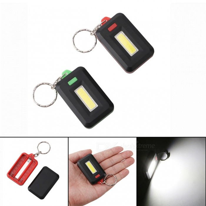 JRLED 1W COB Cold White 3-Mode LED Key Chain Emergency Light - Random Color (2 PCS)LED Keychains<br>Form  ColorRandom ColorModelN/AQuantity2 DX.PCM.Model.AttributeModel.UnitMaterialLED+PCShade Of ColorBlackNumber of Emitters1Light ColorCool whitePower Supply3 X AAAOther FeaturesThis product is small, with a key ring, can be hung on a key chain, using COB light, high brightness, low heat, light, bright, bright, SOS, three models, 2 shipments, key color spot random hair, this product uses: Night emergency lighting, lighting the night looking for something the night lighting, etc..CertificationCE ROHSPacking List2 x LED Key chain lamps<br>