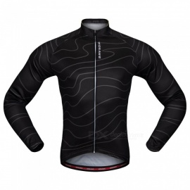 WOSAWE BC234 Unisex High Elastic Long Sleeve Cycling Jersey for Spring Autumn - Black (L)