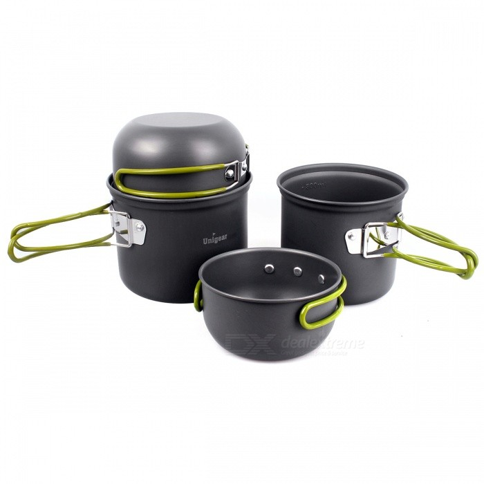Compact durable folding camping cookware mess kit outdoor for Backpacking fishing kit